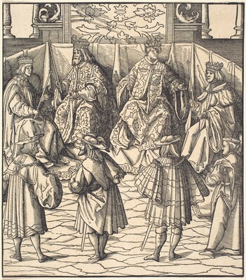 Assembly of Four Kings, in the foreground Four Men