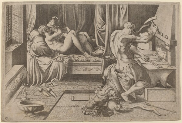 Venus and Mars Embracing with Vulcan at his Forge