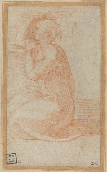 Kneeling Woman Lifting Her Hand to Her Head