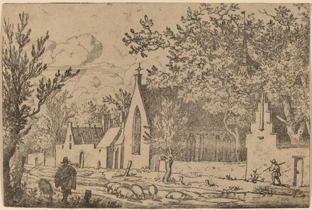 Swine Herd near a Chapel