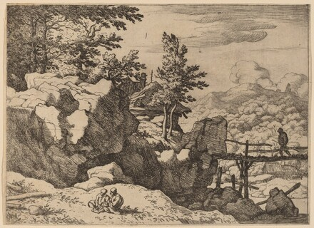 Man on a Small Wooden Bridge