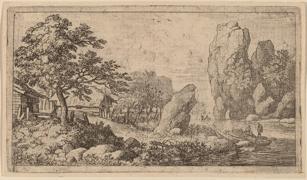 Pointed Boulder at the Bank of a River