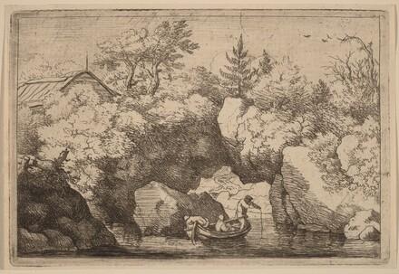 Skiff under a Cleft Rock
