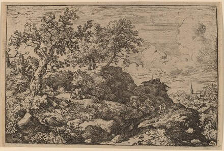 Two Peasants Seated on a Hill