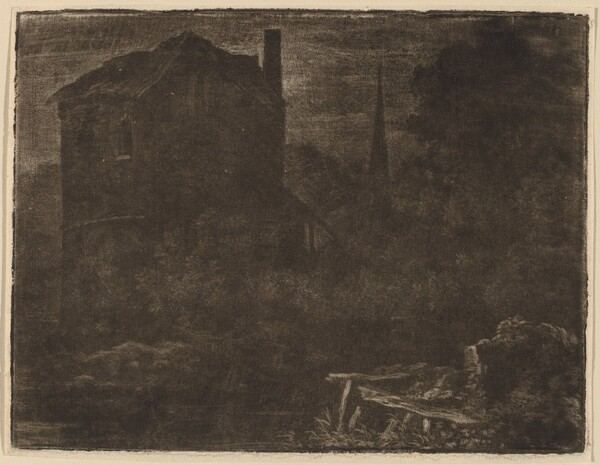 Nocturnal Landscape with House and Church Spire