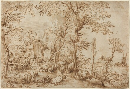 Peasants and Cattle near a Farmhouse
