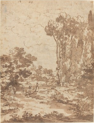 Figures Bathing in a Stream