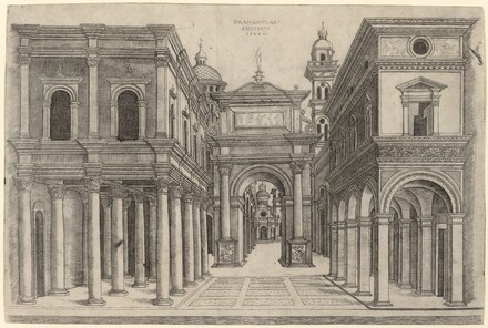 A Street with Various Buildings, Colonnades and an Arch