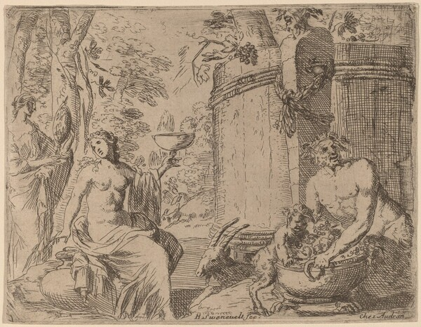 Two Nymphs and a Satyr before a Large Vat