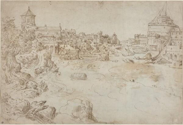 View of the Castle Sant'Angelo and the Ospedale di Santo Spirito [recto]