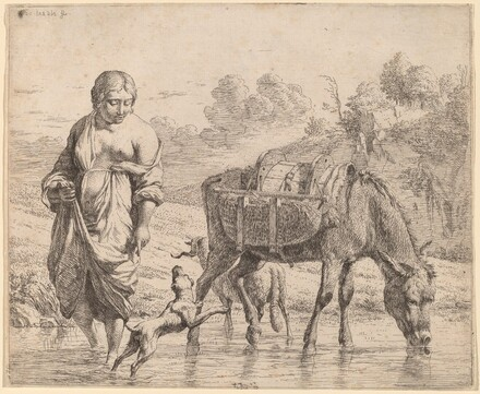 Woman Crossing a Stream