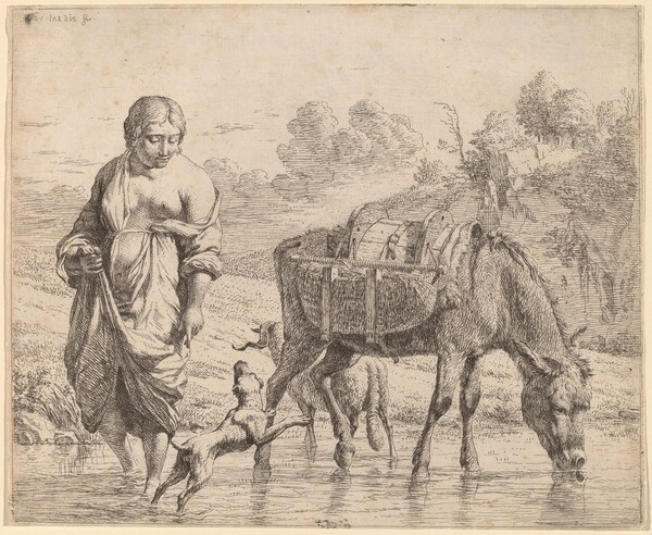 Woman Crossing a Stream