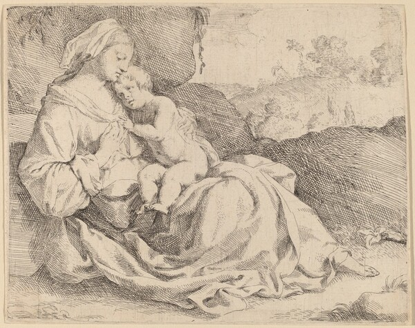 The Virgin and Child on a Grassy Bank