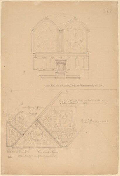 Study of an Altarpiece and Ceiling Panels