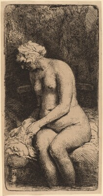 Nude Seated on a Bench with a Pillow (Woman Bathing Her Feet at a Brook)