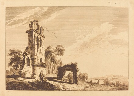 Landscape with Ruin at Left and Arch with Sheep at Center