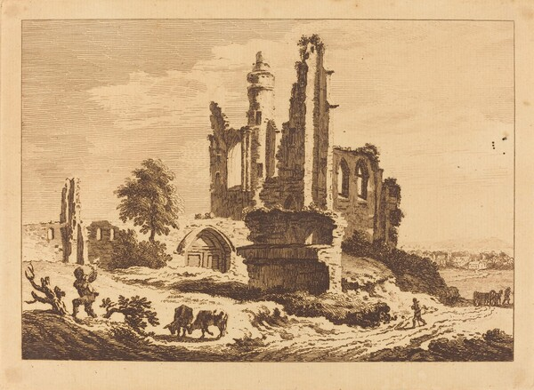 Ruined Abbey with Cattle and a Man Chopping Wood