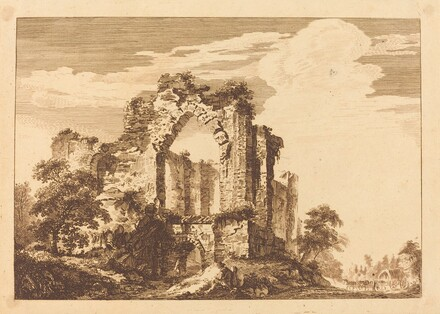 Landscape with Large Ruin, Wagon and Horses at Right