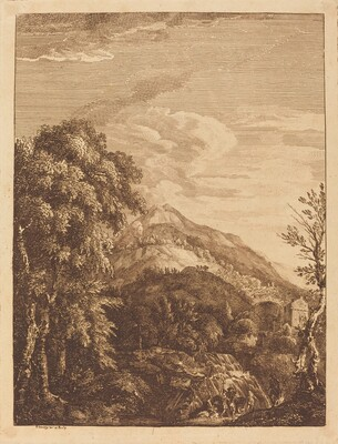 Mountainous Landscape with a Waterfall, Round Tower, Castle, and Banditti