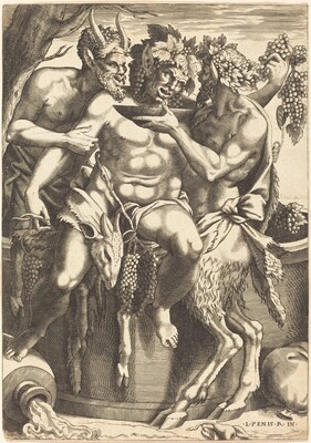 Two Satyrs Giving Drink to Bacchus