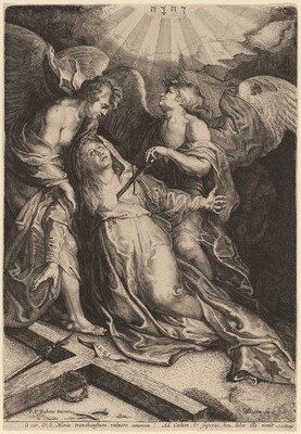 Mater Dolorosa Kneeling, Supported by Two Angels