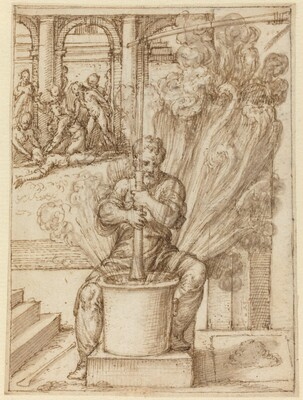 Study for Man Making an Explosion