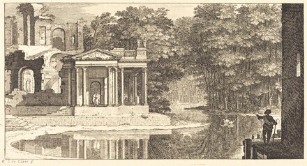 Landscape with Temple Ruins and Pond