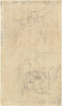 Sheet of Studies with the Drunken Pan and Nymphs [verso]