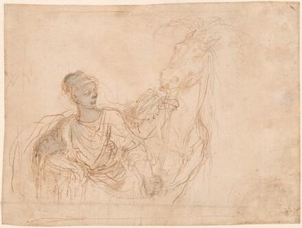 Figure Leading a Horse