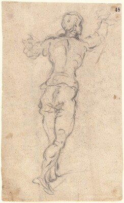 A Striding Youth with His Arms Raised, Seen from Behind