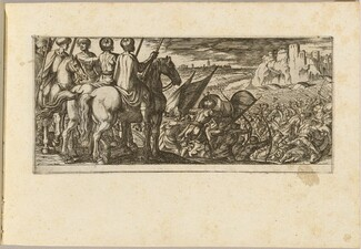 Battle Scene with Cavalry Observing from a Hill