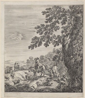 Two Riders Passing Near a Herd of Animals