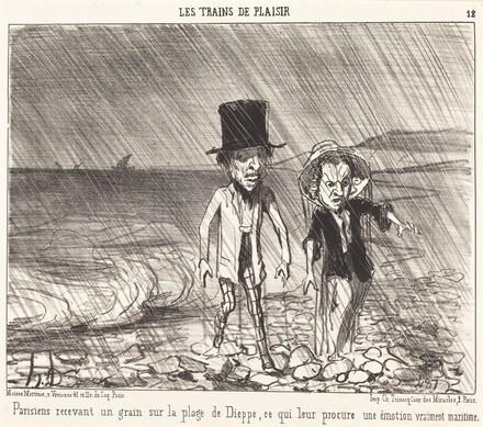 Parisiens recevant un grain...