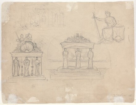 Studies of Classical Temple Facades and Seated Female Figure [verso]