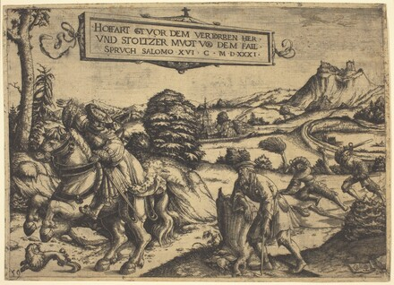 Allegory of Pride Goeth Before Destruction...: A Gentleman and a Lady on Horseback