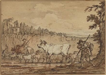 Herdsman Crossing a River