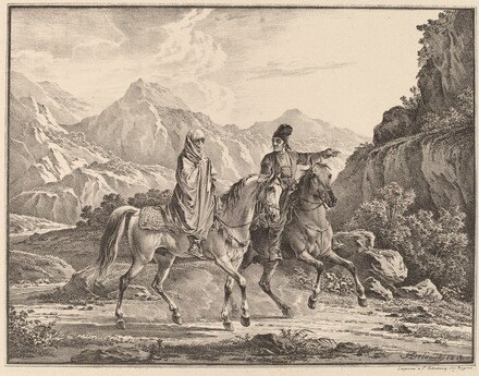 Man and Veiled Woman on Horseback