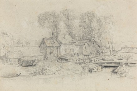 River Landscape with Buildings, Boats, and Figures