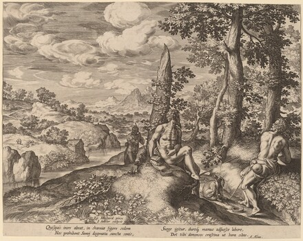 Landscape with Three Nude Men and a Dog