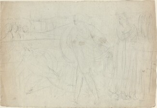 Sketch of a Swordsman Standing Over His Defeated Opponent [recto]