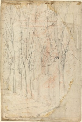 Sketch of Trees with a Statue on a Pedestal