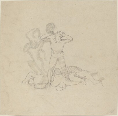 Figure Standing over Corpses, Blowing a Horn