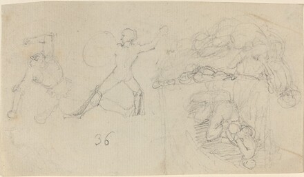 Sheet of Sketches, including Two Warriors Fighting