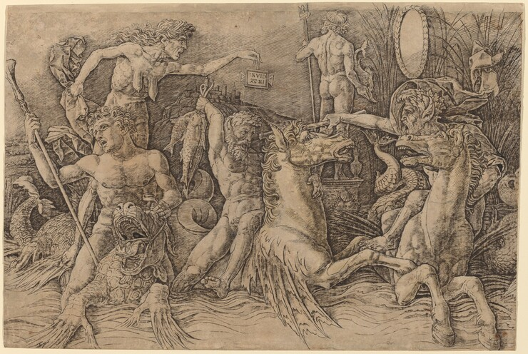Andrea Mantegna, Battle of the Sea Gods [left half], before 1481before 1481