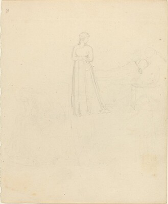 Standing Female Figure Looking at Reclining and Seated Figures
