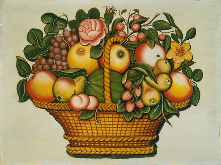 Basket of Fruit with Flowers