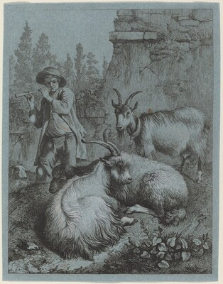 Goatherd Piping to Four Goats