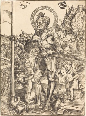 Saint George Standing, with Two Angels