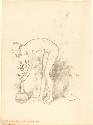 A Nude Model Arranging Flowers