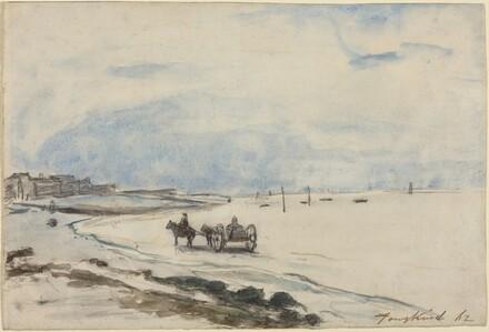 Cart on the Beach at Etretat